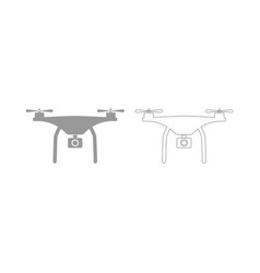 Drone the grey set icon vector
