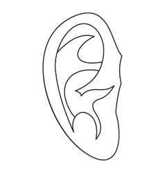 Ear icon outline style vector