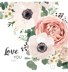 floral card design garden flower pink peach rose vector image vector image