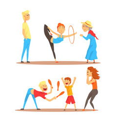 girl doing gymnastics dance with hoop juggler vector image