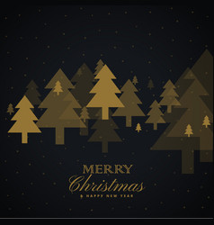 Golden christmas tree design on black background vector