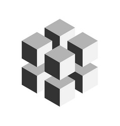 Grey geometric cube of 8 smaller isometric cubes vector