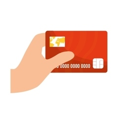 Hand holds red credit card bank vector