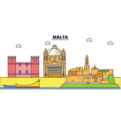 Malta mediterranean sea city skyline vector