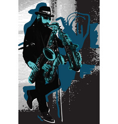 Music musician bearded sax player in blue vector