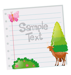 Paper template with deer and tree vector