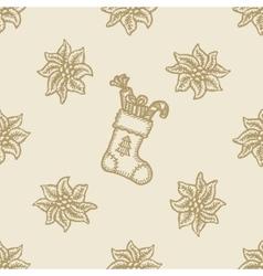 Poinsettia christmas flower gift sock pattern vector