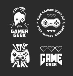 retro video games related t-shirt design set vector image vector image