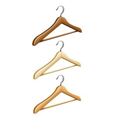 Set of wooden coat hangers vector image vector image