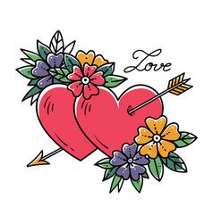 Tattoo two hearts pierced by arrow with flowers vector
