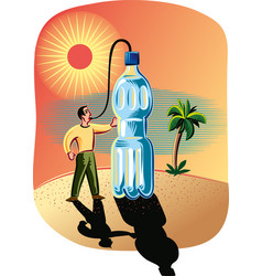 Thirsty in the desert vector