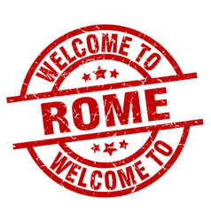 Welcome to rome red stamp vector