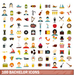100 bachelor icons set flat style vector