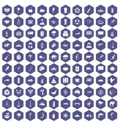 100 exotic animals icons hexagon purple vector