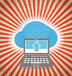 Laptop with stripes and blue cloud vector