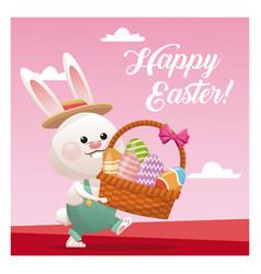 Happy easter bunny basket egg pink background vector