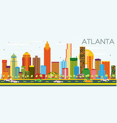 atlanta skyline with color buildings and blue sky vector image
