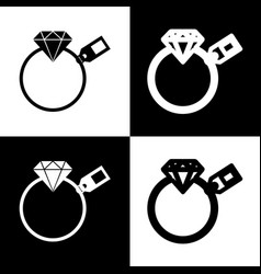 Diamond sign with tag  black and white vector