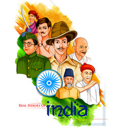 Tricolor india background with nation hero and vector
