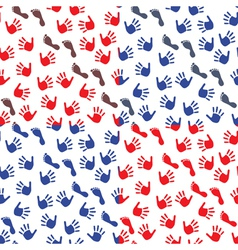 Four seamless pattern with hands and feet imprints vector