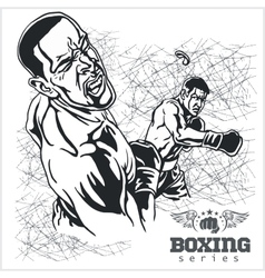 Boxing match - retro on grunge vector
