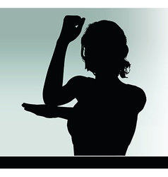 Woman silhouette with hand gesture vector