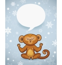 Winter holiday background with cartoon monkey and vector