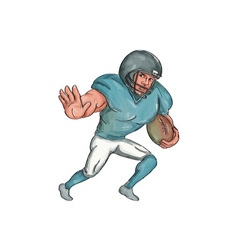 American football player stiff arm caricature vector