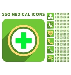 Rounded cross icon and medical longshadow icon set vector