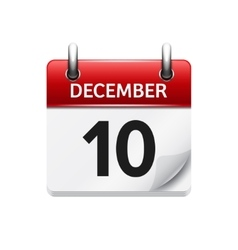 December 10 flat daily calendar icon vector