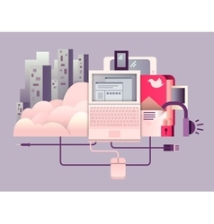 Cloud hosting design flat vector
