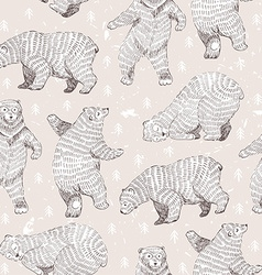 Seamless background with hand drawn funny bears vector