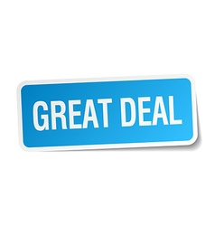 Great deal blue square sticker isolated on white vector