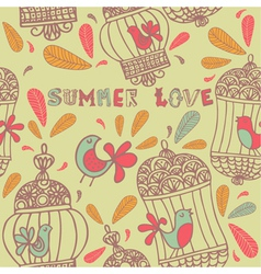 Retro summer love birds pattern vector