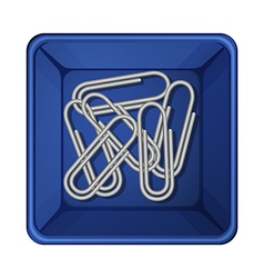 A topview of the paperclips inside a container vector