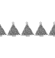 Black and white seamless pattern with christmas vector