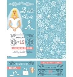 Bridal shower wedding cardsbridewinter pattern vector