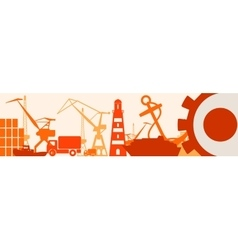 Cargo port relative icons set japan flag in gear vector