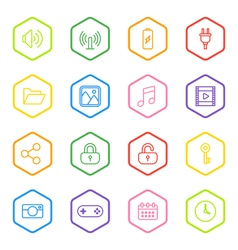 Colorful line web icon set with hexagon frame vector