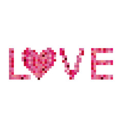 colorful pixels forming the word love vector image