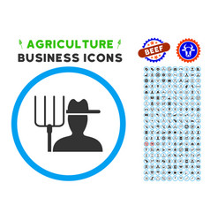Farmer with pitchfork rounded icon with set vector