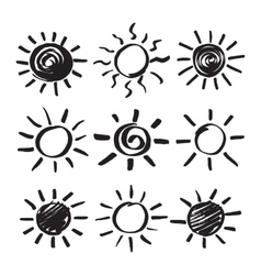 Hand Drawn Sun Set vector image vector image