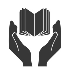 Hands human with book vector