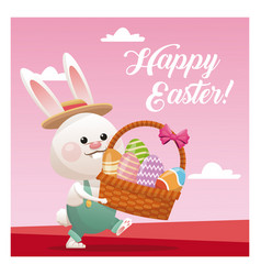Happy easter bunny basket egg pink background vector
