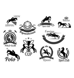 Horse racing club emblems or icons set vector