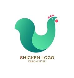 Logo green chicken vector