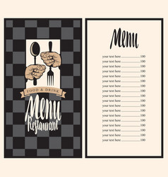 menu with hands and utensils vector image vector image