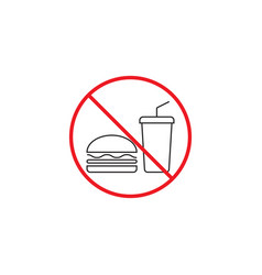 No food line icon no eating red prohibited sign vector