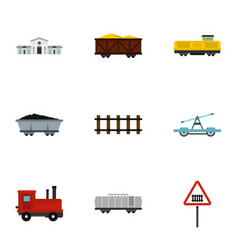 Railroad icons set flat style vector