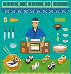 Sushi chef and cookware sets maki sushi vector